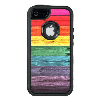 Cool Rainbow Colored Wooden Planks OtterBox Defender iPhone Case