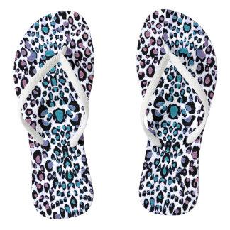 Cool Rainbow Glitter Leopard Print Flip Flops Thongs