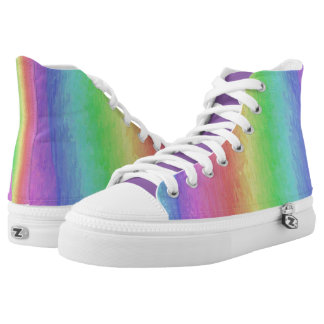Cool Rainbow High Tops Printed Shoes