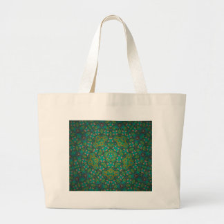 Cool Rainforest Green Print Large Tote Bag