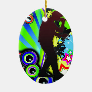 Cool rapper boy ceramic ornament