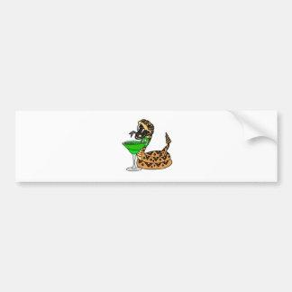 Cool Rattlesnake Drinking Margarita Art Bumper Sticker