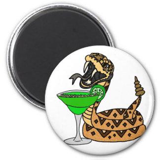 Cool Rattlesnake Drinking Margarita Art Magnet