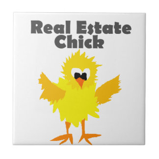 Cool Real Estate Chick Art Small Square Tile