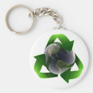 cool recycle logo basic round button key ring