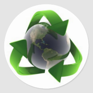 cool recycle logo round sticker
