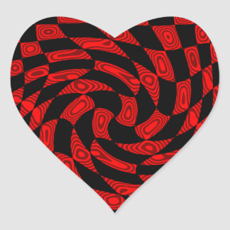 Cool red and black punk abstract heart stickers