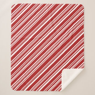 Cool Red and White Peppermint Candy Stripes Sherpa Blanket