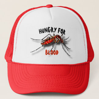 Cool Red Black Funny Mosquito Drawing Trucker Hat