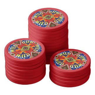 Cool Red Blue Wild Card Gaming Chips Poker Chips