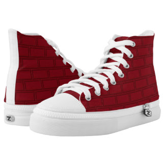 Cool Red Cartoon Bricks Wall Pattern High Tops