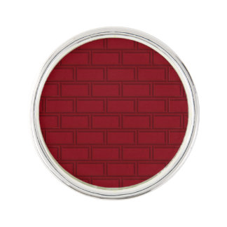 Cool Red Cartoon Bricks Wall Pattern Lapel Pin