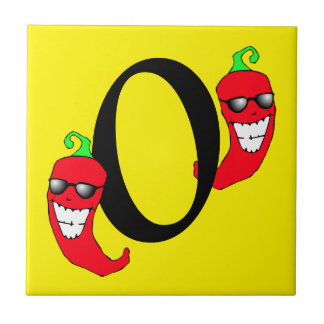 Cool Red Chili Pepper Hot Number 0 zero tile