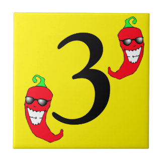Cool Red Chili Pepper Hot Number 3 three tres tile