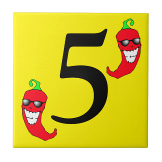 Cool Red Chili Pepper Hot Number 5 five cinco tile