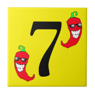 Cool Red Chili Pepper Hot Number 7 seven tile