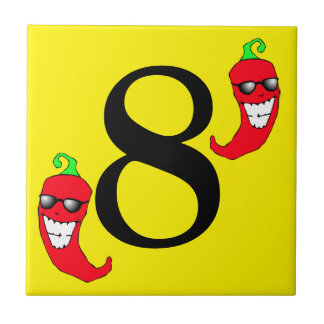 Cool Red Chili Pepper Hot Number 8 eight tile