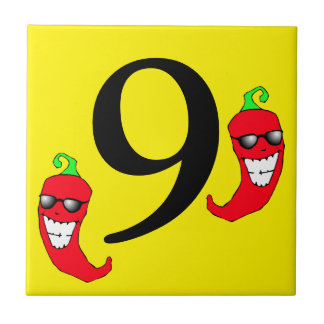 Cool Red Chili Pepper Hot Number 9 nine tile