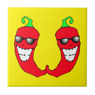 Cool Red Chili Peppers Hot Anthropomorphic Tile