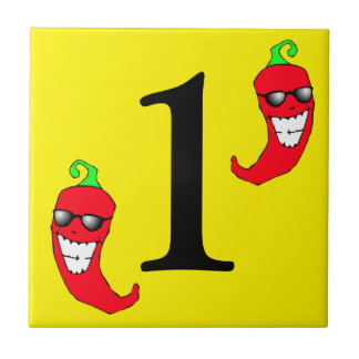 Cool Red Chili Peppers Hot Number One 1 Uno Tile