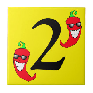 Cool Red Chili Peppers Hot Number two 2 dosTile Small Square Tile