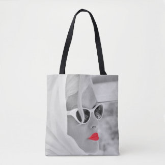 Cool Red Lips Retro Woman Graphic Art Bag