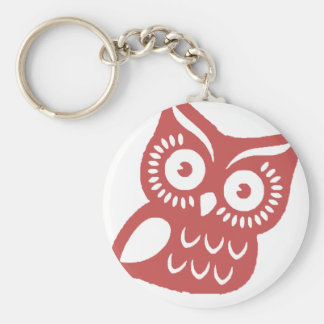 Cool Red Owl Basic Round Button Key Ring