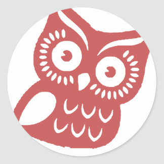 Cool Red Owl Round Sticker