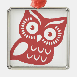 Cool Red Owl Silver-Colored Square Decoration