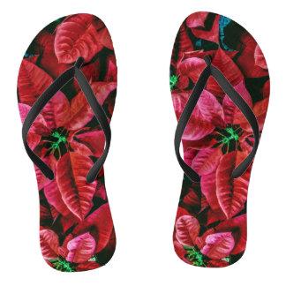 Cool Red Poinsettia Photo Print Thongs