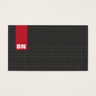 Cool Red Stripe Black Monogram Auto Automotive Business Card