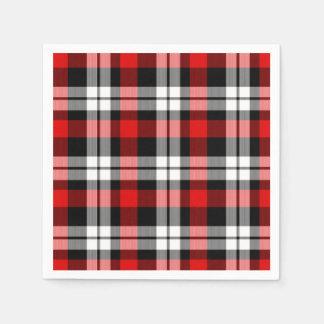 Cool Red White Black Lumberjack Tartan Pattern Disposable Napkin