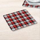 Cool Red White Black Lumberjack Tartan Pattern Square Paper Coaster