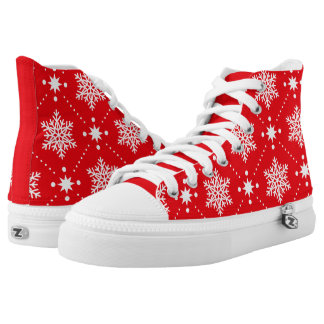 Cool Red White Snowflakes Christmas Pattern High Tops