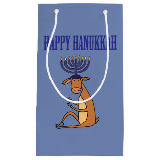 Cool Reindeer and Hanukkah Menorah Candles Antlers Small Gift Bag