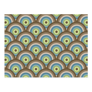 Cool Retro Blue Green Circle Pattern Custom Gifts Postcard