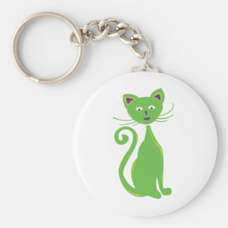Cool Retro Cat Basic Round Button Key Ring