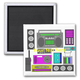 Cool retro electronics jumble in purple and green refrigerator magnets