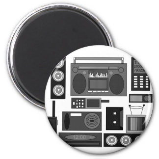 Cool retro electronics jumble in white and black refrigerator magnet