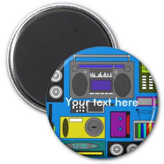 Cool retro electronics jumble on blue background 6 cm round magnet