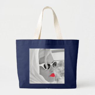 Cool Retro Jumbo Lady Face Graphic Tote For Beach