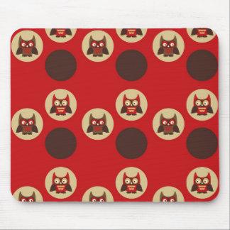 Cool retro owl & circles pattern mouse pad