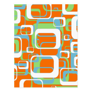 Cool Retro soft blue green orange and white shapes Postcard