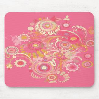 Cool Retro Swirl Pink Mousepad