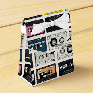 Cool retro vintage cassettes mix tapes pattern favour box