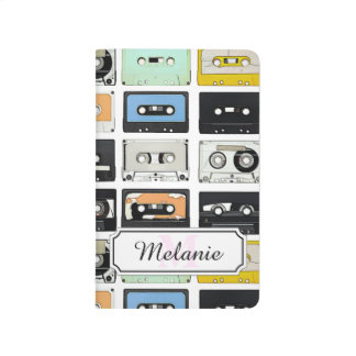 Cool retro vintage cassettes mix tapes pattern journal