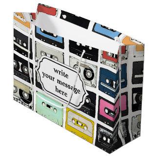 Cool retro vintage cassettes mix tapes pattern large gift bag