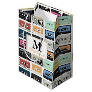 Cool retro vintage cassettes mix tapes pattern medium gift bag