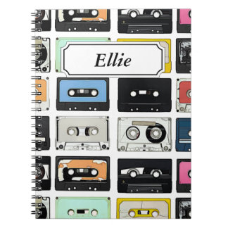 Cool retro vintage cassettes mix tapes pattern notebooks