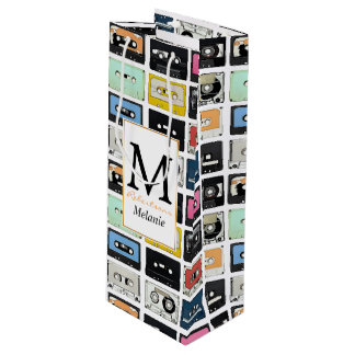Cool retro vintage cassettes mix tapes pattern wine gift bag